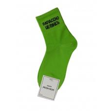 На фото 1 - Молодёжные носки с надписью, цвет салатовый