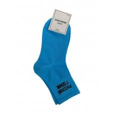 На фото 1 - Молодёжные носки с надписью, цвет голубой