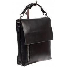 На фото 1 - Мужская сумка-почтальонка из искусственной кожи, цвет чёрный