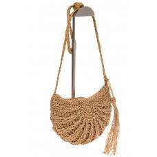 на фото Плетеная сумка-полумесяц из соломы коричневого цвета ZY-720