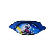 На фото 1 - Детская поясная сумка из текстиля с принтом, цвет синий