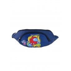 На фото 1 - Детская поясная сумка из текстиля с принтом, цвет тёмно-синий