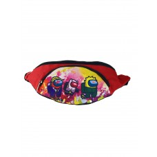 На фото 1 - Детская поясная сумка из текстиля с принтом, цвет красный